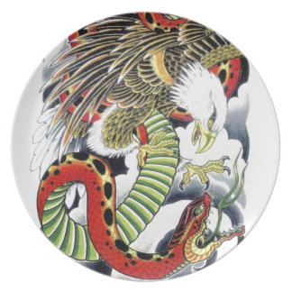 Eagle & Snake Japanese Tattoo Design Party Plates