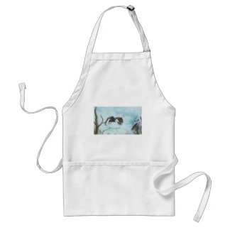 Eagle soaring in sky painting adult apron