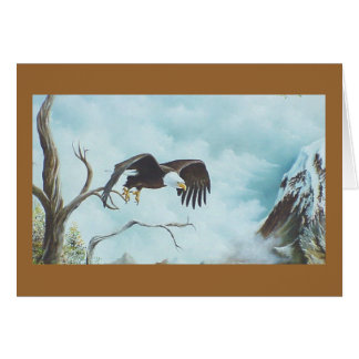 Eagle soaring in sky painting greeting card