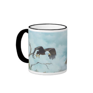 Eagle soaring in sky painting ringer coffee mug