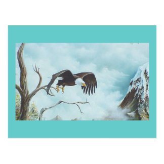 Eagle soaring in sky painting postcard