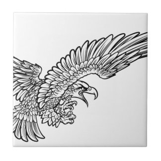 Eagle Swooping from the Side Ceramic Tiles
