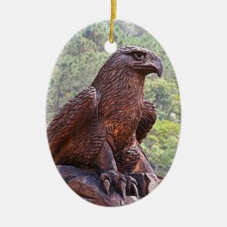 Eagle totem carving, Portugal 2 Ceramic Ornament