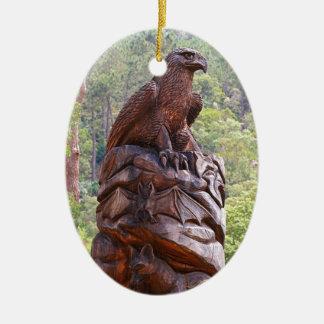 Eagle totem carving, Portugal Ceramic Ornament