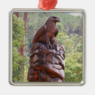 Eagle totem carving, Portugal Metal Ornament