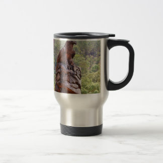 Eagle totem carving, Portugal Travel Mug