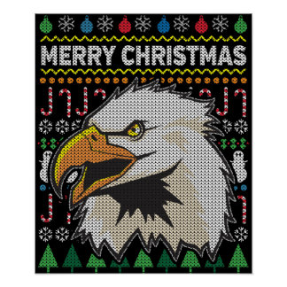 Eagle Ugly Christmas Sweater Wildlife Series Poster