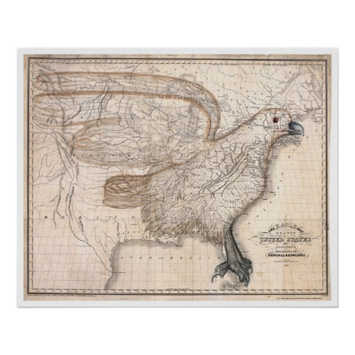 Eagle United States Map 1832 Poster