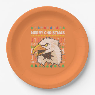 Eagle Wildlife Merry Christmas Ugly Sweater Paper Plate