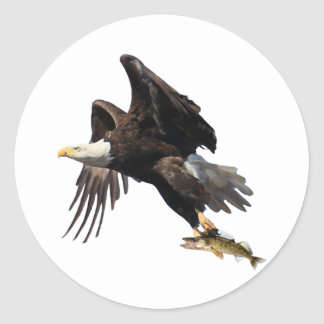 Eagle with Fish Classic Round Sticker