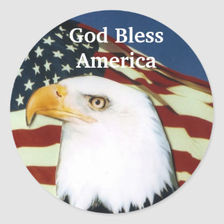 Eagle with flag, God Bless America Classic Round Sticker