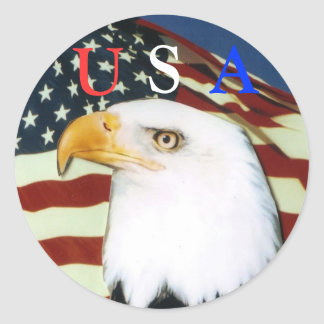 Eagle with flag, U, S, A scker Classic Round Sticker