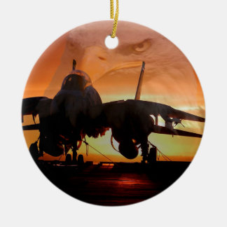 eaglefighterjet22 round ceramic ornament