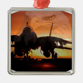 eaglefighterjet22 Silver-Colored square ornament