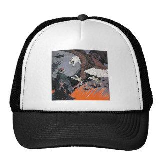 Eagles fighting soaring sky biplane vintage hat