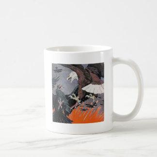Eagles fighting soaring sky biplane vintage mugs