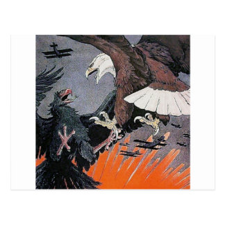 Eagles fighting soaring sky biplane vintage postcard
