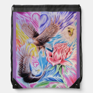 eagles of love drawstring bag