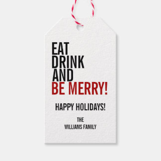 Ear Drink and Be Merry Christmas Holiday Gift Tag