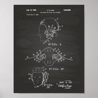 Ear Guard Water Polo 1969 Patent Art Chalkboard Poster