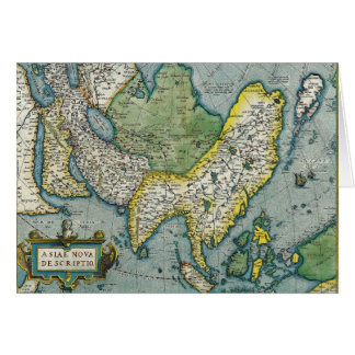 Early 16th Century Map of Asia Greeting Card