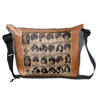 early 1970s wig advertisement courier bag