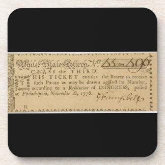 Early American Revolutionary War Lottery Ticket Coaster