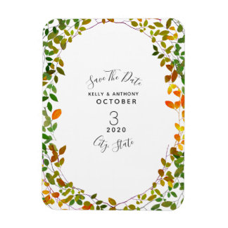 Early Autumn Botanical Wedding Save The Date Magnet