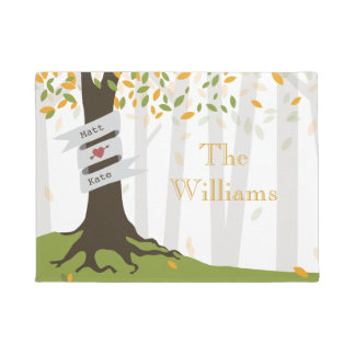 Early Autumn Forest Personalized Doormat