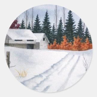 Early Autumn Landscape Round Sticker