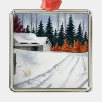 Early Autumn Landscape Silver-Colored Square Ornament