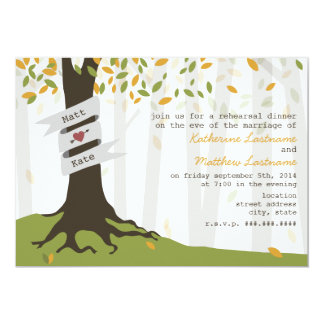 """Early Autumn Leaves Forest Rehearsal Dinner 5"""" X 7"""" Invitation Card"""