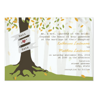 """Early Autumn Leaves Forest Wedding Invitation 5"""" X 7"""" Invitation Card"""