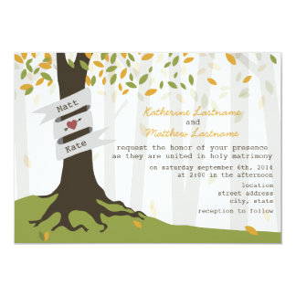 Early Autumn Leaves Forest Wedding Invitation