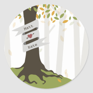 Early Autumn Leaves  Forest Wedding Round Sticker