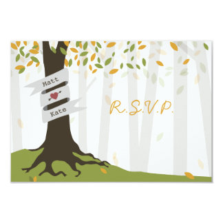 """Early Autumn Leaves Forest Wedding RSVP 3.5"""" X 5"""" Invitation Card"""