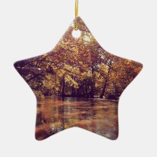 Early Autumn River Ceramic Star Ornament
