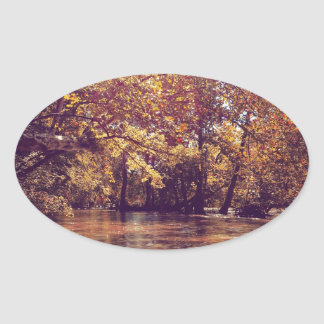 Early Autumn River Oval Sticker