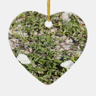 Early Beach Sand Morning Glories Ceramic Heart Ornament
