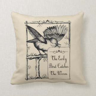 Early Bird Catches the Worm Farmhouse Throw Pillow