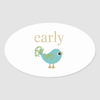 Early Bird Oval Sticker