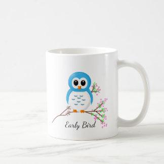 Early Bird, Whimsical Owl on a Branch Coffee Mug
