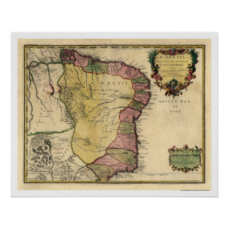 Early Brazil Map 1719 Poster