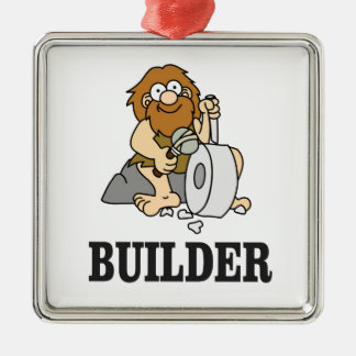 early builder guy Silver-Colored square ornament