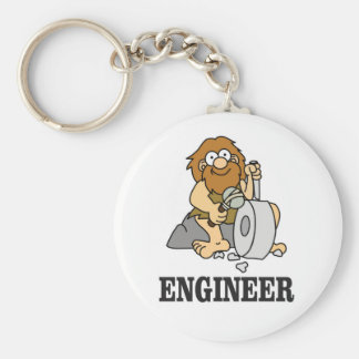 early engineer man basic round button keychain