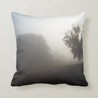 early foggy morning just at sunrise throw pillow