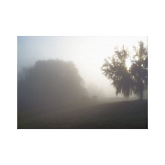 early foggy morning just before sunrise canvas print