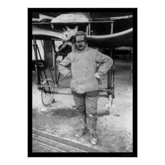 Early French Aviator and His Airplane 1907 Poster