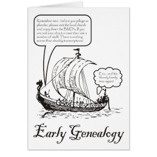 Early Genealogy Birthday Card (b&w)