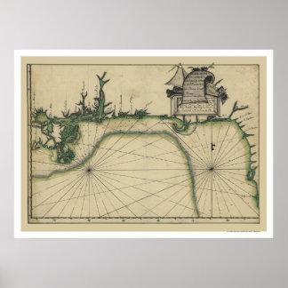 Early Gulf Coast Map 1784 Poster